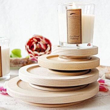 Drewniane pokrywki na świeczki